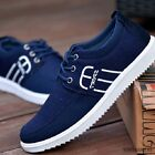 Summer Mens Cotton Sport Sneakers Canvas Breathable Lace Up Flat Casual Shoes