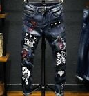 Mens Denim Ripped Hole Jeans Punk Embroidery Pants Trouses Vintage Cool Boy Hot