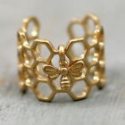 Antique Honeycomb Open Band Ring Cute Tiny Bee Adjustable Hexagon Ring