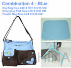 3pcs Pink/Blue Big Multifuctional Mummy Tote Handbag Baby Diaper Changing Bag