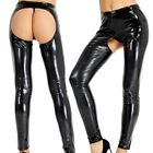 Sexy Women's Wet Look Leather Open Butt Legging Stretchy Legging Pencil Trousers