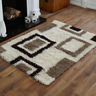 LARGE MEDIUM SMALL CREAM CHOC 5CM HIGH PILE THICK SHAGGY DESIGN RUGS