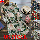 Summer Womens Floral Tops Blouse Ladies Long Sleeve T-shirt Dress Plus Size 6-22
