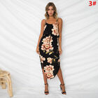 UK Womens Holiday Strappy Midi Dresses Ladies Summer Beach Side Split Sun Dress <br/> ❤15 Colors❤Chiffon Material Same As Photos Shown❤