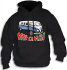1955 Vw Combi Van Hand Drawn By Greg Alach Hoodie Front Print Sm-2XL