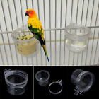 Birds Parrot Feeder Pets Clear Acrylic Feeding Bowl Cage Food Water Holder Round