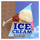 ICE CREAM FLAG SIGN SOFT SCOOP CATERING CAFE RESTAURANT - Double Sided Flag