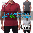 PROCLUB PRO CLUB MENS PLAIN POLO T SHIRT PIQUE BUTTON UP ACTIVE WORK SHIRTS GOLF