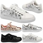 WOMENS SHOES LADIES TRAINERS SNEAKERS PUMPS SEQUIN NET SKATER STYLE CASUAL SIZE