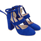 Women High Heel Strap Ankle Block Sandals Chunky Party Dress Sandal Pumps Shoes