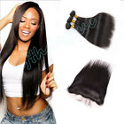 "13x4"" Lace Closure with 3 Bundles/300G Brazilian 8A Straight Human Extensions"