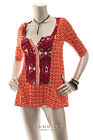 NEW ANTHROPOLOGIE By Akemi+Kin Peplum Top Burn Orange Ivory Magenta XS S