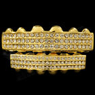 14K Gold Plated Iced Out GRILLZ CZ Top Bottom Set Bling Teeth Caps Hip Hop NEW