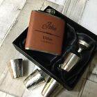6oz full leather personalised Hip Flask.Groom/best Man etc with box choice lf51