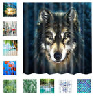 Shower Curtain NATURE Print Bathroom Liner Fabric Sheer Panel with Hooks Set