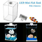 11X8X15cm Acrylic Mini LED Clear Fish Tank Aquarium Small Breeding Desktop Decor
