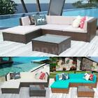 Outdoor 5pc Furniture Garden Pool Pe Wicker Patio Rattan Sofa Set Couch L3b6
