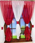 New Net Curtain Set of 5 pieces White and Vine Voile Piping Ready Made Window