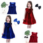 Toddler Baby Children Girls Solid Velour Bowknot Sleeveless Dress + Bow Headband