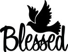 Blessed Dove Decal Christian God Jesus Religious Window Bumper Sticker Car Decor
