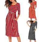 Women Chic 3/4 Sleeve Stripes Elastic High Waist Dress Casual Dress With Pocket