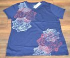 Sonoma Goods for Life Crew Neck Tee Short Sleeve Navy Graphic T-Shirt