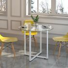 CTF LEROY Round Clear Glass Dining Table with White Steel Frame