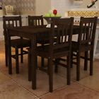 Modern Pine Wood Dining Table Set with 4 Chairs Kitchen Dining Room Furniture US