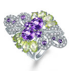 Natural Amethyst Peridot Rich Ring Solid 925 Sterling Silver Gemstone Jewelry