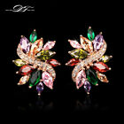 Luxury Crystal Vintage Party Rose Gold Stud Earrings Fashion Brand Jewelry Women