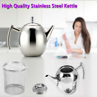 Durable 1L/1.5L Stainless Steel Teapot Coffee Pot Kettle With Leafe Filter US
