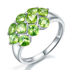 3.6 CT NATURAL GREEN PERIDOT FACET SOLID 925 STERLING SILVER CLUSTER RING SIZE..