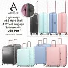 Aerolite Lightweight ABS Hard Shell 4 Wheel Luggage Suitcase Set With USB