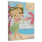 Betty Boop HULA BOOP Grass Skirt Palm Trees Framed Canvas Wall Art $25.24 USD on eBay
