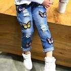 Kids Girls Jeans Broken Hole Embroidered Spring Autumn Fashion Clothing Pants