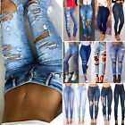 Womens High Waist Ripped Stretchy Skinny Fit Jeans Ladies Je