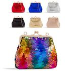 Ladies Stylish Sequin Clutch Bag Kiss Clasp Evening Bag Metallic Handbag KZ2324