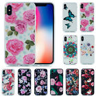 For iPhone X 6s 8 7 Plus Flower Patterned Soft TPU Silicone Gel Back Case Cover