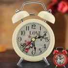 Metal Double Bell Alarm Clock Backlight Silent Desk Bed Table Classical Antique