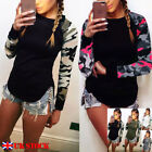 UK Womens Camouflage Long Sleeve Casual T-Shirt Ladies Tee Tops Blouse Size 6-20
