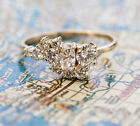 2.83 Ct Round & Oval Cut Diamond 18K Yellow Gold Over Cluster Engagement Ring