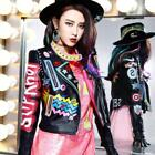 Women Fashion Multicolor Punk Leather Motorcycle Jacket Graffiti Street Vogue