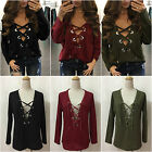 Women Autumn Long Sleeve Sweater V Neck Lace-Up Loose Pullover Blouse Tops Shirt