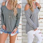 Women Knitted Cold Shoulder Long Sleeve Warm Jumper Pullover Sweater Baggy Tops
