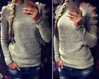 Womens Knitwear Cut Out Sleeve Warm Jumper Pullover Sweatshirts Winter Tops Sexy