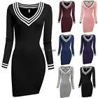 Women V-neck Long Sleeve Pencil Dress Bodycon Knitting Packa
