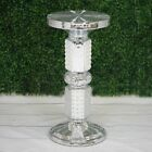 "26"" tall Silver White Wedding Column Riser with Pearls and Mirror Mosaic Party $119.14 USD on eBay"