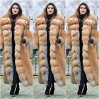 2018 Luxury Women Natural Whole Skin Red Fox Fur Coat 120CM Long Lapel Overcoat