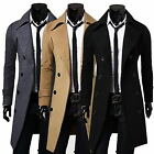 Mens Gentlemen Double Breasted Long Overcoat Trench Coat Jacket Outwear Winter