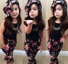 Toddler Kid Girl Fashion Flower Printed Top+Pants+Headband Outfit Clothes Set